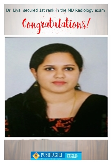 Dr. Liya  secured 1st rank in the MD Radiology exam